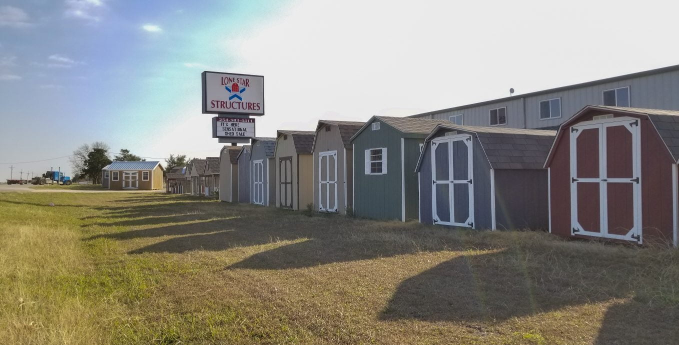Portable storage buildings are prefab built in the shop in texas