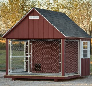 8x10 dog kennel. barn red with barn white trim, weathered wood shingles