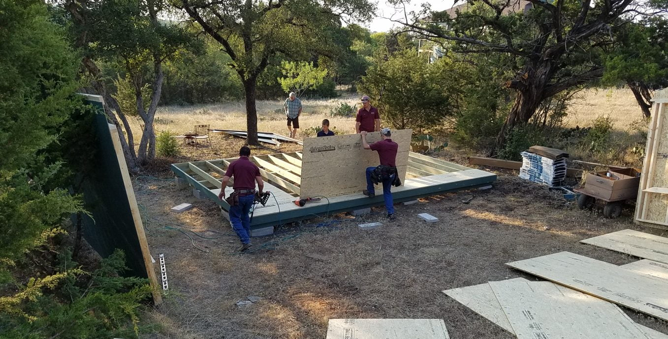 Building sheds on site in texas