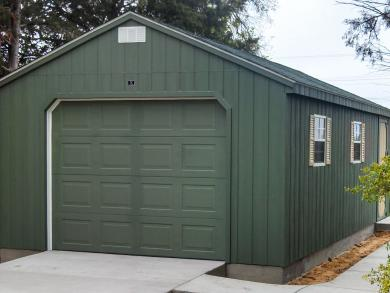 Prefab garage in a workshop shed style