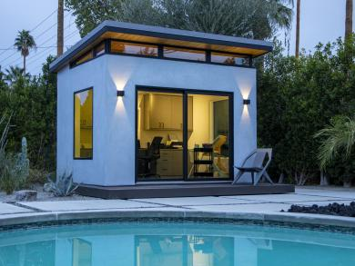 Pool house studio shed in texas