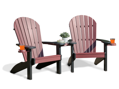 Deck furniture adirondack companion set cherrywood and black 8 2