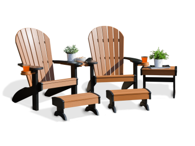Deck furniture adirondack companion deluxe set cedar and black 10 2